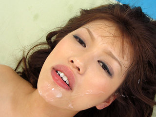 Rika Nagasawa gets jizz on gullet and in hair